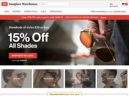 Sunglass Warehouse screenshot