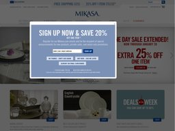Aug 23,  · Mikasa Coupons, Sales & Promo Codes. For Mikasa coupon codes and deals, just follow this link to the website to browse their current offerings. And while you're there, sign up for emails to get alerts about discounts and more, right in your inbox.